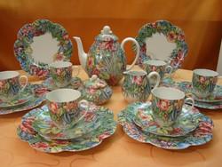 Szignált Kézzel festett 12 személyes Royal Limoges Eden d'après Sonate PAULE MARROT teás/kávés/sütis