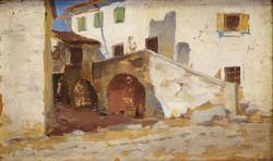 Ismeretlen 19.sz-i  festő : Mediterrán? házrészlet