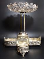 Üvegbetétes antik emeletes kínáló , asztalközép