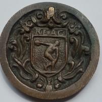 KEAC KOLOZSVÁRI EGYETEMI ATLÉTIKAI KLUB előlapon pajzsalaku címer benne diszkoszvető és a klub neve