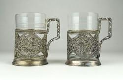 0X708 Régi ezüstözött filigránozott pohár pár