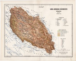 Lika - Krbava vármegye térkép 1895 (6), lexikon melléklet, Gönczy Pál, 23 x 29 cm, megye, Posner K.
