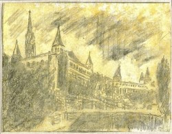 Budai vár Halászbástya alulról - Lehoczky József - ceruzarajz, papíron,+ sárga akvarell