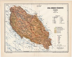Lika - Krbava vármegye térkép 1897 (4), lexikon melléklet, Gönczy Pál, 23 x 29 cm, megye, Posner K.