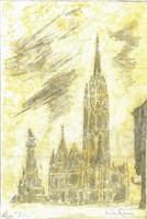 Mátyás-templom - Lehoczky József - ceruza, papíron, sárga akvarellel átlavírozva /23 x 15 cm/ :