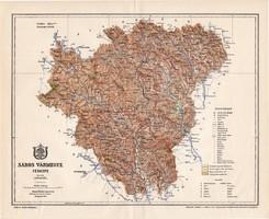 Sáros vármegye térkép 1897 (7), lexikon melléklet, Gönczy Pál, 23 x 30 cm, megye, Posner Károly