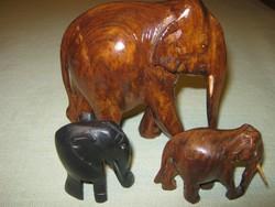 3 db Elefánt faragott  fa elefánt  figura