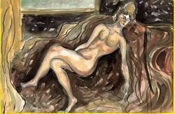  Női akt - tusrajz, akvarellel színezve, papíron  /17,5 x 25 cm/ Keret nélkül- Lehoczky József