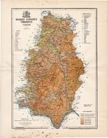 Krassó - Szörény vármegye térkép 1897 (5), lexikon melléklet, Gönczy Pál, 23 x 30 cm, megye, Posner