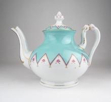 0X662 Antik nagyméretű türkiz kék arany teáskanna