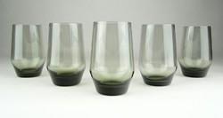 0X579 Régi füstüveg pohár készlet 5 darab