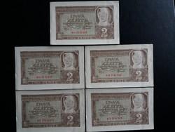 Lengyelország, német megszállás 2 Zloty 1941 aUnc ritkább, 5 darab sorszámkövető bankjegy!
