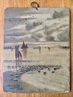 1905-ös Lehotzky falapra készült festmény 16x20,5cm