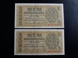 Ukrajna, német megszállás 1 Karbowanez 1942 aunc, 2 darab sorszámkövető bankjegy!