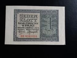 Lengyelország, német megszállás 1 Zloty 1941.