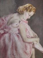 FRIED PÁL: Rózsaszín ruhás balerina c. festménye.