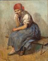 TURMAYER SÁNDOR/1879 - 1953/: Könyöklő lány