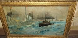 Schieszer Károly -csatahajók- nagyon régi festmény