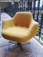 Sárga plüsskárpit retro forgó fotel szép állapotú ifjúsági bútor a 70-es évekből