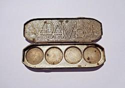 Antik gyógyszertartó apró doboz, veramon