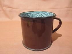 Régi, ritka fém, zománcos bögre, pohár 0,5 l - Kőbánya