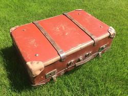 Régi retro fabordás bőrönd vintage utazótáska