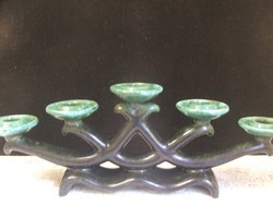 Iparművész ötágú kerámia gyertyatartó
