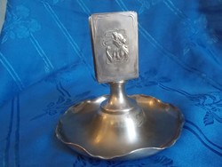 antik szecessziós fém gyufatartó kínáló nőfejes díszítéssel
