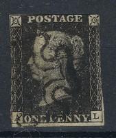 1840 Black Penny!!A világ első bélyege!!Fekete kereszt