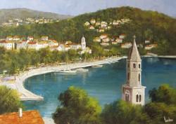 """Gyönyörű mediterrán tájkép, Lantos György """"Cavtati öböl"""" c. festménye ingyen postával"""