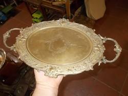 Antik díszes barokk réz asztalközép kínáló