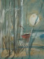 Kecskés jelz. (20.sz.2.fele) : Csónak a nádasban