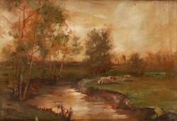 220.000 Ft-os kikiáltási áron Aukcionált festmény, K. Spányi Béla: Patakpart Tehenekkel