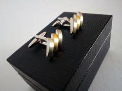 Ezüst/arany színű modern, elegáns mandzsettagomb, dobozában