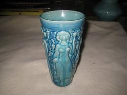 Zsolnay kék , szőlős  váza  , 8,5 x 16,5  cm