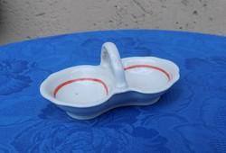 Zsolnay porcelán asztali sótartó borstartó piros csíkos (14/d)