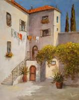 """Lantos György """"Mediterrán udvar I."""" c. keretezett olajfestmény ingyenes házhoz szállítással"""