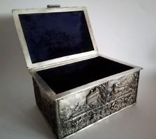 Német ezüstözött doboz, bársony béléssel, 1800-as évek