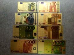 Gyönyörű aranyozott plasztik dísz EURO sor, 8 db egyben/id 10262/