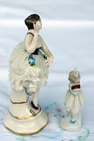 Igazi különlegesség,csipkeszoknyás porcelán kislány és kézifestésű, Sitzendorfi porcelán balerina.