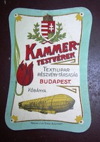 Nagyon régi címke - Kammer Testvérek Budapest Zeppelin, koronás címer