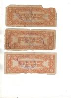 5 peso hátul pecsételt 3 db Fülöp-szigetek japán megszállás
