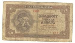 20 dinár 1941 Szerbia