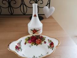 Royal albert porcelán tálka+ibolya váza