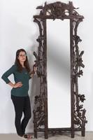 Nagyméretű faragott fa falitükör