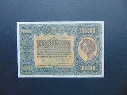 100000 korona 1923 Ritka Bankjegy RR !