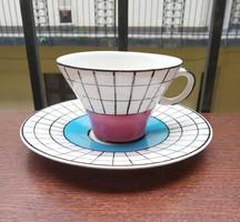 """Retro Gránit """"kockás"""" teáscsészék és csészealjak - 6 db"""