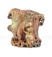 0X722 Antik faragott kínai sárkány zsírkő szobor