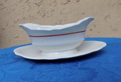 Zsolnay porcelán mártásos szószos tál piros csíkos (14/d)
