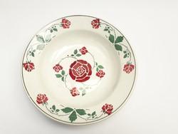 Antik fajansz falitányér - rózsás népi falidísz, paraszt tányér